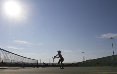 Muskego Number One Singles Player Sonia Gude returns a ball from Waukesha South's Rina Niehoff during the teams meet at Muskego High School Tuesday, Sept. 15, 2015, in Muskego, Wisconsin.