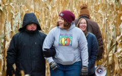 Alternate Text Not Supplied for Matt Bell, Ryleigh Provencher, and Abby Ciesielczyk in the corn maze.