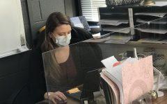 Ms. Mathews working hard in her new classroom!