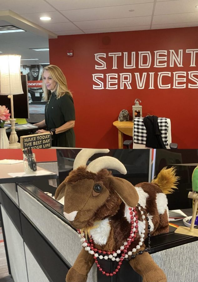 Mrs. Andrews hard at work, and the GOAT mascot